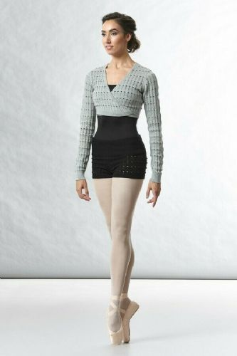 BLOCH Ladies Dance Cotton Textured Knit Crop Wrap Top Warm Up Z5539 Venetia